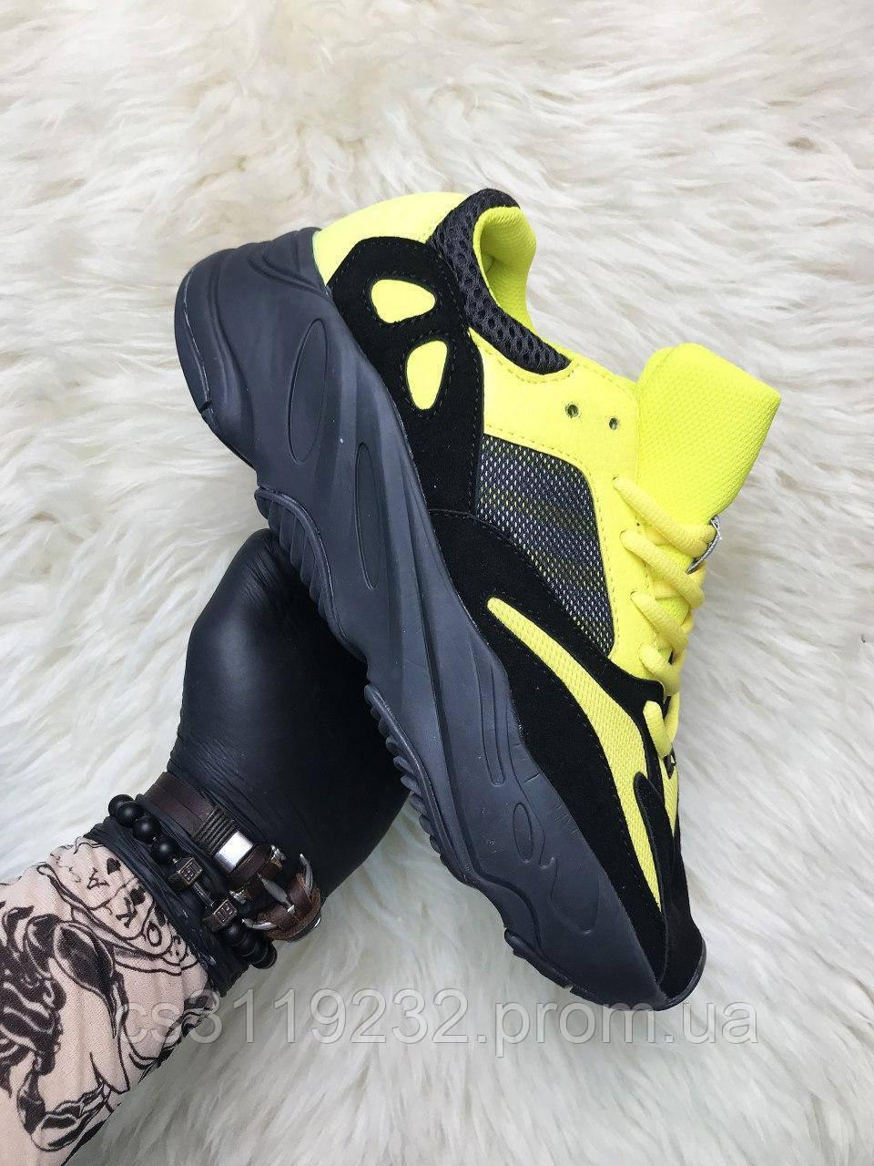 Мужские кроссовки Adidas Yeezy Boost 700 Yellow Black (черно-желтые)