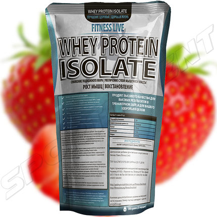 Протеин Fitness Live Whey Protein Isolate 500 г, клубника, фото 2