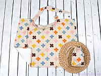 Пеленка для кормления, накидка + сумочка-чехол, Плюсики, фото 1