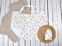 Накидка для кормления ребенка + сумочка-чехол, Кактусы и фламинго, фото 1