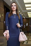 Стильное замшевое платье миди в полоску 1126 (42–48р) в расцветках, фото 2