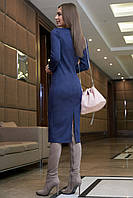 Стильное замшевое платье миди в полоску 1126 (42–48р) в расцветках, фото 3