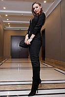 Стильное замшевое платье миди в полоску 1126 (42–48р) в расцветках, фото 5