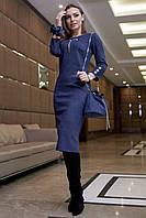 Стильное замшевое платье миди в полоску 1126 (42–48р) в расцветках, фото 1
