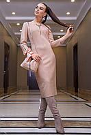 Стильное замшевое платье миди в полоску 1126 (42–48р) в расцветках, фото 7