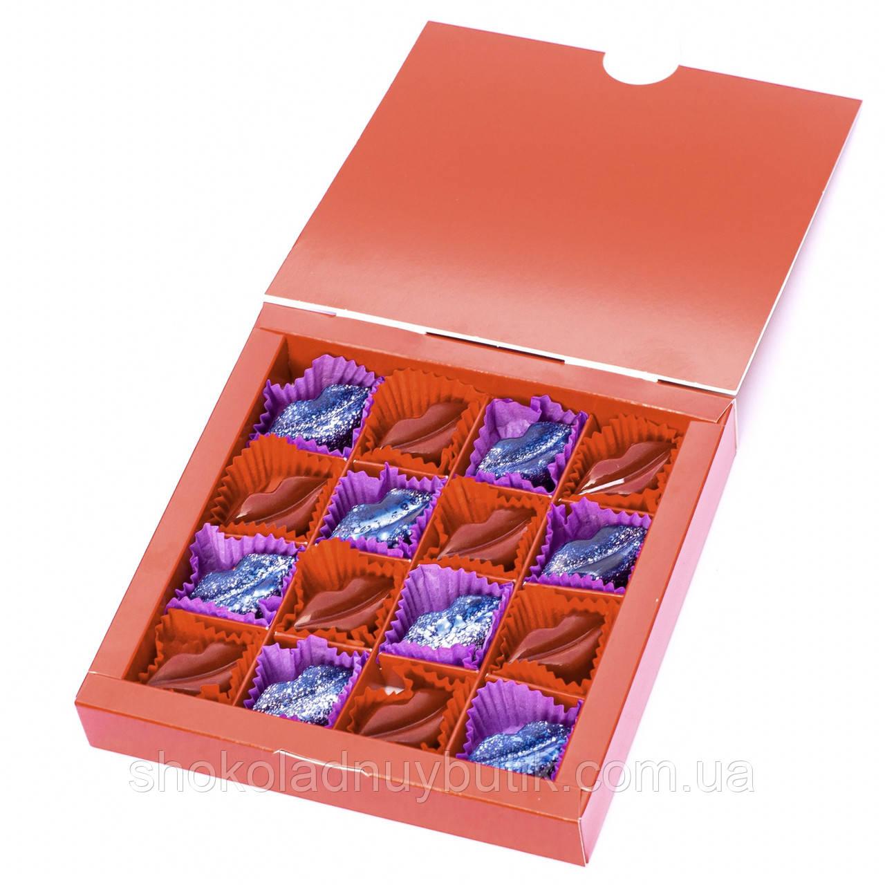 Шоколадные конфеты ручной роботы *Сладкие поцелуи,красная коробка*