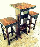 Садовая мебель из массива дерева 550*550 от производителя для дачи, ресторанов, комплект Furniture set - 02