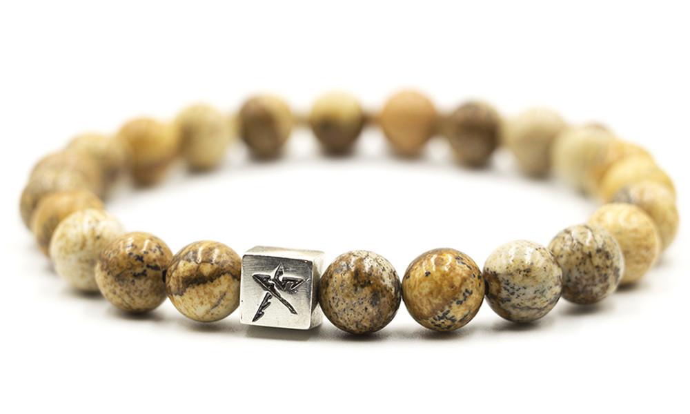Браслет мужской Hephaestum яшма пейзажная, серебро 925 пробы