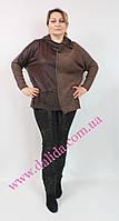 Коричневый батальный свитер с отделкой из блестящей ткани Darkwin, фото 1