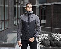 Мужская демисезонная куртка Pobedov Soft Shell «Combi» черно-серая