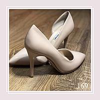 Женские туфли на среднем каблуке, бежевая экокожа