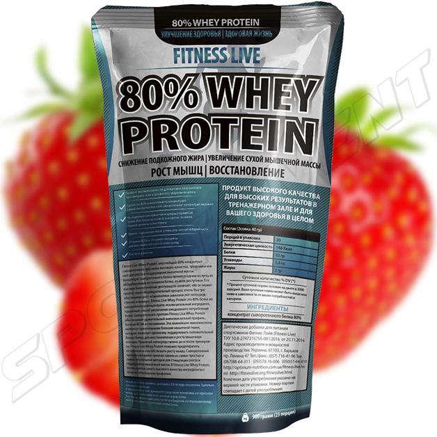 Протеин Fitness Live 80% Whey Protein 900 г, клубника