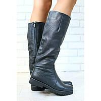 Женские демисезонные сапоги, кожаные, на байке, черные, низкий ход, фото 1