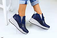 Женские кожаные закрытые туфли на платформе, фото 1