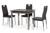 Кухонный стеклянный раздвижной стол серого цвета 90-150*70 см.
