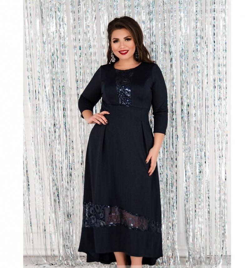 Платье женское большого размера синее