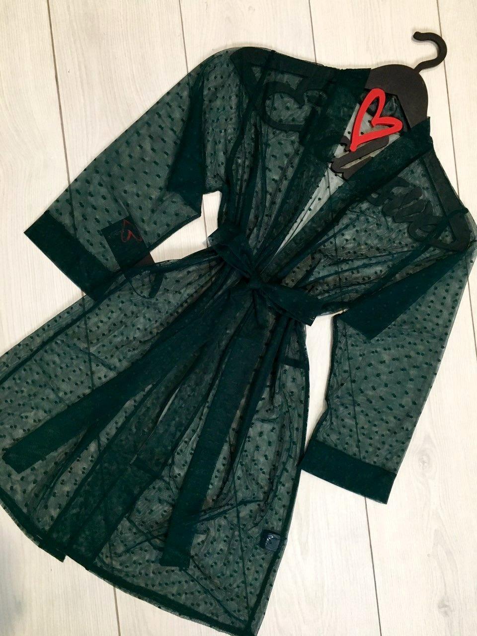 Прозрачный женский халат под пояс