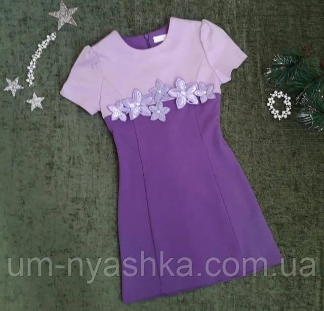 Подростковое платье-туника, украшенное цветами на рост 140-152
