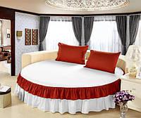 Простынь цельная - подзор на Круглую кровать Модель 6 Белый + Винный