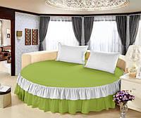 Круглая кровать. Простынь цельная - подзор Модель 6 Салатовый + Белый