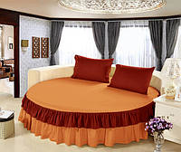 Круглая кровать. Простынь цельная - подзор Модель 6 Медовый + Винный