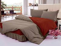 Комплект постельного с цельной простынью - подзором Порох + Винный, фото 1