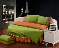 На Круглую кровать. Комплект постельного белья с цельной простынью - подзором Салатовый + Медовый, фото 1