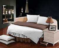 Постельный Комплект белья с цельной простынью - подзором на Круглую кровать Белый + Порох, фото 1