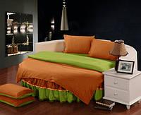 Постельное белье с цельной простынью - подзором на Круглую кровать Медовый + Салатовый, фото 1