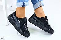 Женские черные замшевые кроссовки, фото 1