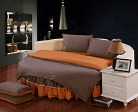 Постельный Комплект белья с цельной простынью - подзором на Круглую кровать Порох + Медовый, фото 1
