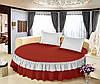 Круглая кровать. Простынь цельная - подзор на  Модель 6 Винный + Белый