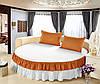 Простирадло цільна - підзор на Круглу ліжко Модель 6 Білий + Медовий