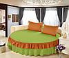 Круглая кровать. Простынь цельная - подзор Модель 6 Салатовый + Медовый