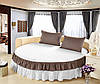 Круглая кровать. Простынь цельная - подзор Модель 6 Белый + Порох