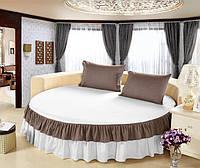 Круглая кровать. Простынь цельная - подзор Модель 6 Белый + Порох, фото 1