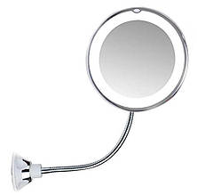 Гнучке дзеркало для макіяжу на присоску Ultra 10x з підсвічуванням