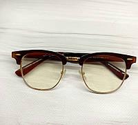 Іміджеві окуляри Коричневі полуободковые