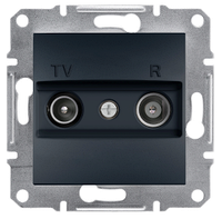 Телевизионная розетка TV/R 8дБ антрацит (проходная)  Asfora  EPH3300371