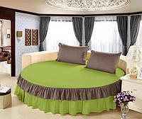 Простирадло цільна - підзор на круглу ліжко Модель 6 Салатовий + Порох, фото 1