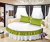 На Круглу ліжко Простирадло цільна - підзор Модель 6 Білий + Салатовий