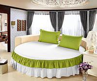 На Круглу ліжко Простирадло цільна - підзор Модель 6 Білий + Салатовий, фото 1
