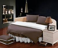На Круглую кровать постельное белье комплект с цельной простынью - подзором  Порох + Белый, фото 1
