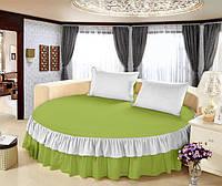 Простынь цельная - подзор на Круглую кровать Модель 6 Салатовый + Белый, фото 1