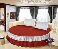 Простынь цельная - подзор на Круглую кровать Модель 6 Винный + Белый, фото 1