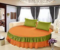 Простынь цельная - подзор на Круглую кровать Модель 6 Медовый + Салатовый, фото 1