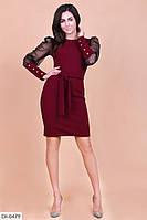 Красивое облегающее платье с поясом и рукавами сетка размеры 50-54 арт 3331
