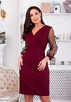 Модное приталенное платье с рукавами сетка горох размеры 50-56 арт 2067