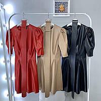 Женское стильное повседневное платье из эко-кожи