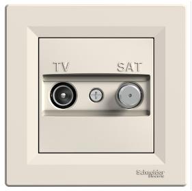 Телевизионная розетка TV/SAT 1дБ крем концевая Asfora  EPH3400123